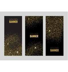 Vertical black and gold banners set greeting card vector