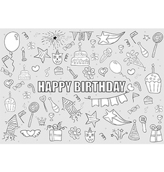 Happy birthday doodles objects drawing by hand vector