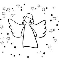 Angel and Stars vector image vector image