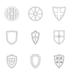 Army shield icons set outline style vector