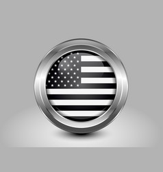 Black and White American Flag Round Icon vector image