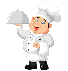 Chef holding a metal food platter vector