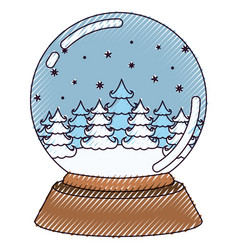 christmas crystal ball with winter forest on color vector image vector image