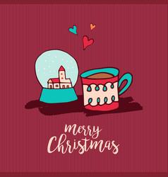 Christmas holiday decoration cute cartoon card vector