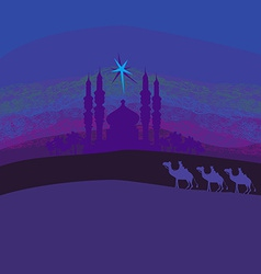 Classic three magic scene and shining star of vector image