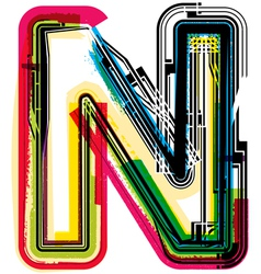 Colorful Grunge font LETTER N vector image