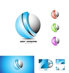 Corporate business blue sphere 3d logo vector image vector image