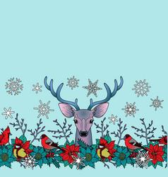deer and birds winter seamless border vector image vector image