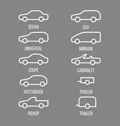 Different types of car body vector