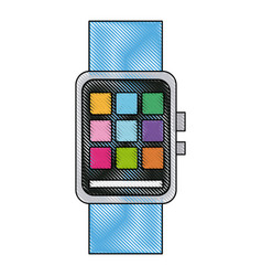 Drawing smart watch wearable technology app icon vector