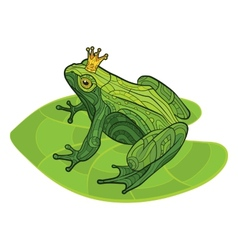 Frog with crown on the leaf vector image
