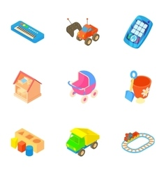 Fun games for kids icons set cartoon style vector