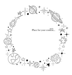 hand drawn frame space elements in doodle style vector image