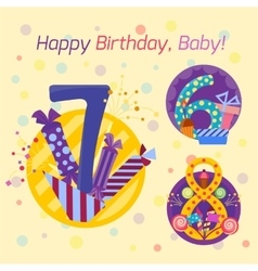 Happy birthday badges icons vector