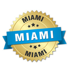 Miami round golden badge with blue ribbon vector