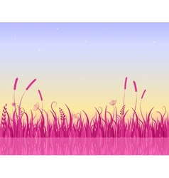 Misty Morning on Lake with Pink Grass Silhouette vector image vector image