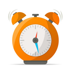 Orange alarm clock with bells icon vector