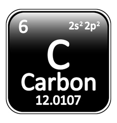 Periodic table element carbon icon vector