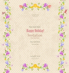 retro invitation card with seamless floral borders vector image vector image