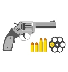 Revolver bullets barrel in flat style Military vector image vector image