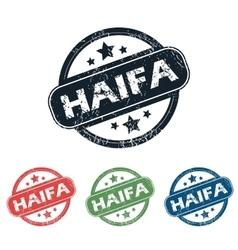 Round haifa city stamp set vector