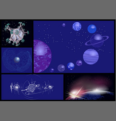 Set of abstract planets vector