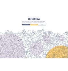 Tourism doodle website template design vector