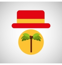 Travel tourist hat concept coconut tree vector