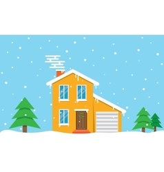 Winter house day family suburban home vector