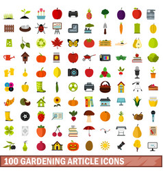 100 gardening article icons set flat style vector
