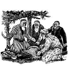 Old men divide the treasure vector image