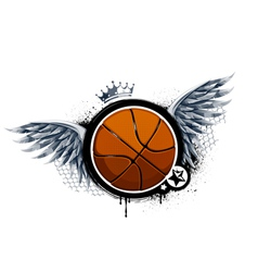 Grunge image with basketball vector