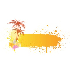 Orange sea banner grunge vector
