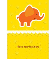 cute baby card with nice elephant vector image