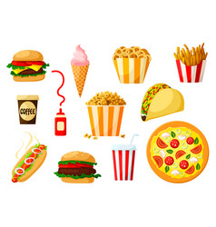 fast food dishes with drink and dessert icon set vector image