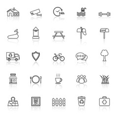 Village line icons with reflect on white vector