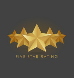 Five golden rating star in gray black background vector