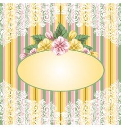 Striped floral background vector