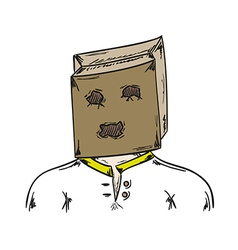 Man with paper bag on his head vector