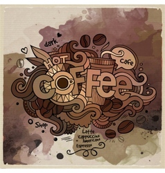 Coffee watercolor cartoon hand lettering and vector