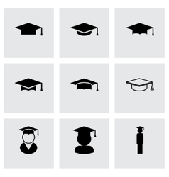 Black academic cap icon set vector