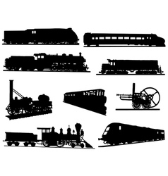 Collection of silhouettes of engines and trains vector