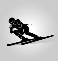 Silhouette skiers vector