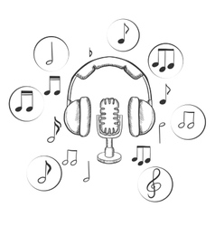 Music sound and entertainment sketches vector