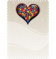 Colorful valentine heart on a beige background vector