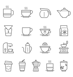 Lines icon set - coffee and tea vector