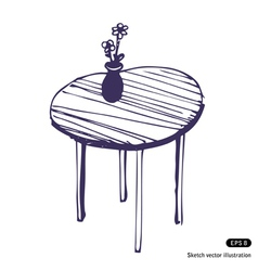 Beautiful table and vase vector image
