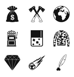 Act icons set simple style vector