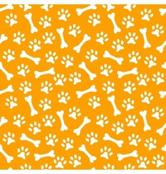 Animal seamless pattern of paw footprint and bone vector image vector image
