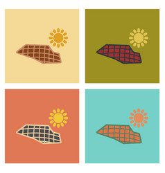 Assembly flat icons nature solar panels vector